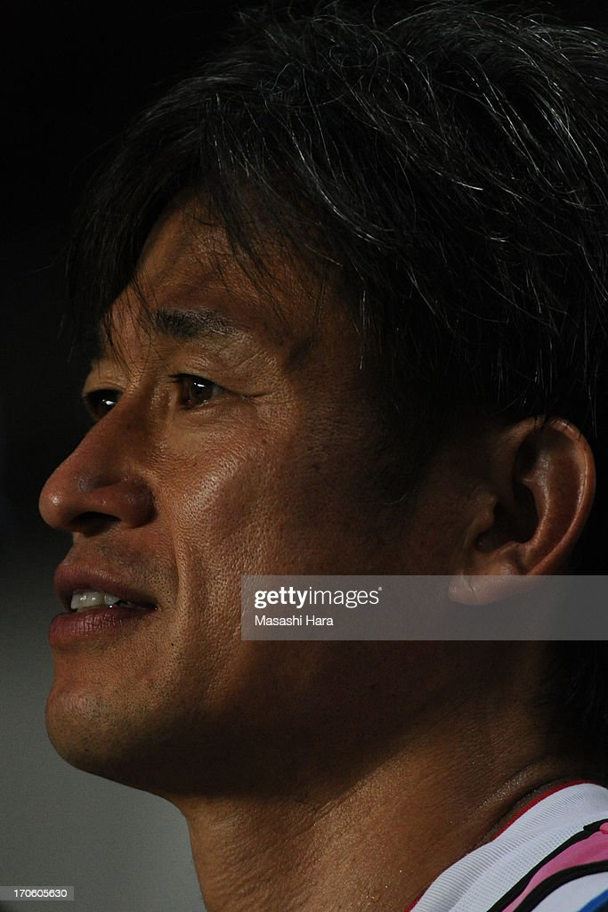 <a gi-track='captionPersonalityLinkClicked' href=/galleries/search?phrase=Kazuyoshi+Miura&family=editorial&specificpeople=2110303 ng-click='$event.stopPropagation()'>Kazuyoshi Miura</a> #11 of Yokohama FC looks on during the J.League second division match between JEF United Chiba and Yokohama FC at Fukuda Denshi Arena on June 15, 2013 in Chiba, Japan.