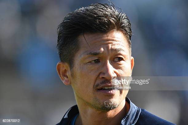 Kazuyoshi Miura of Yokohama FC looks on prior to the JLeague second division match between Yokohama FC and Zweigen Kanazawa at Nippatsu Mitsuzawa...