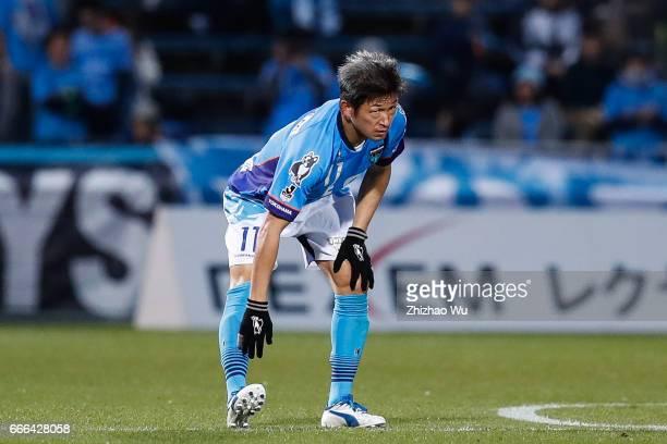 Kazuyoshi Miura of Yokohama FC warm up for the second half during the JLeague J2 match between Yokohama FC and Kyoto Sanga at Mitsuzawa Soccer...