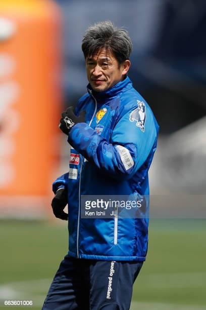 Kazuyoshi Miura of Yokohama FC warms up prior to the JLeague J2 match between Avispa Fukuoka and Yokohama FC at Level Five Stadium on April 2 2017 in...