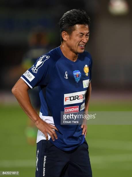 Kazuyoshi Miura of Yokohama FC warms up prior to the JLeague J2 match between Shonan Bellmare and Yokohama FC at Shonan BMW Stadium Hiratsuka on...