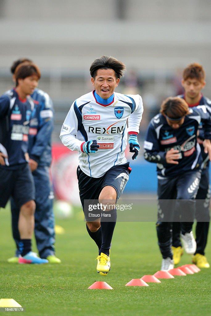 <a gi-track='captionPersonalityLinkClicked' href=/galleries/search?phrase=Kazuyoshi+Miura&family=editorial&specificpeople=2110303 ng-click='$event.stopPropagation()'>Kazuyoshi Miura</a> of Yokohama FC warms up prior to the J.League Second Division match between Yokohama FC and Fagiano Okayama at Nippatsu Mitsuzawa Stadium on March 24, 2013 in Yokohama, Japan.