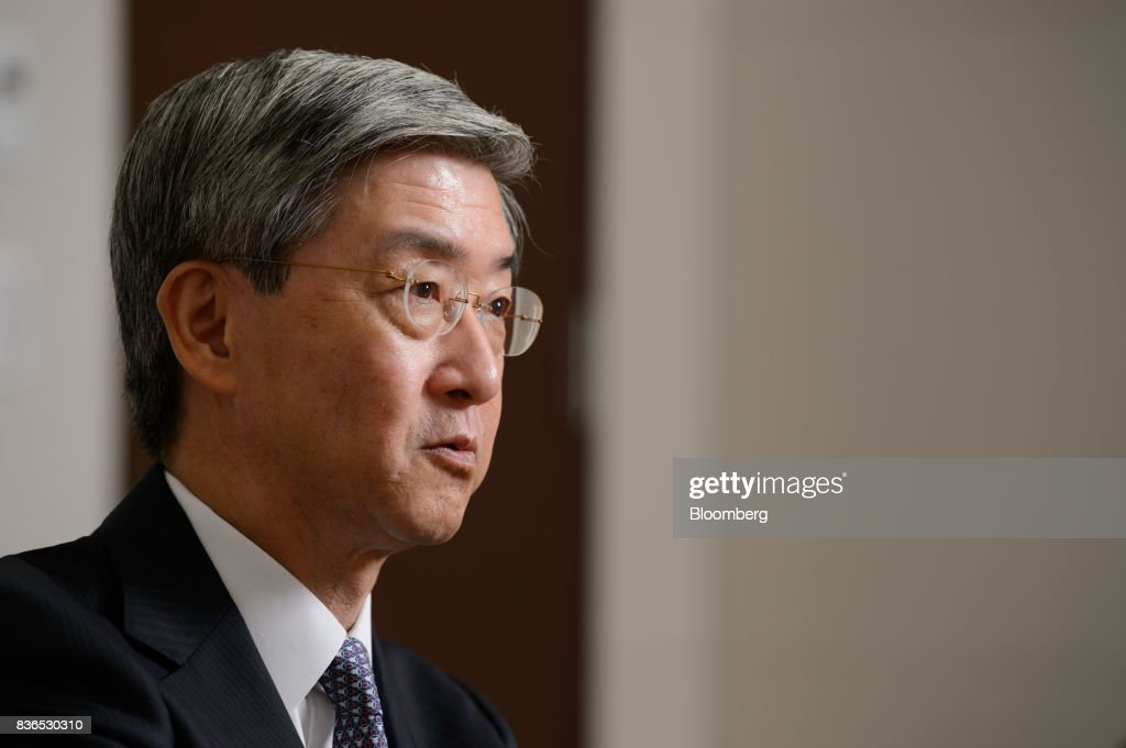 Kazuyuki Masu, executive vice president and chief financial officer of Mitsubishi Corp., speaks during an interview in Tokyo, Japan, on Friday, Aug. 18, 2017. Mitsubishis underlying operating cash flow is expected to reach 2 trillion yen in 3-year period ending March 2019, compared with original forecast of 1 trillion yen, according to Masu. Photographer: Akio Kon/Bloomberg via Getty Images