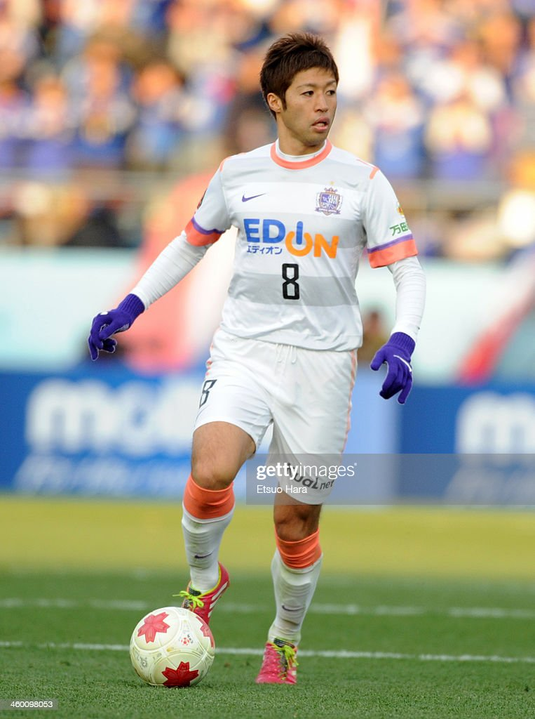 Kazuyuki Morisaki of Sanfrecce Hiroshima in action during the 93rd Emperor's Cup final between Yokohama F.Marinos and Sanfrecce Hiroshima at the National Stadium on January 1, 2014 in Tokyo, Japan.