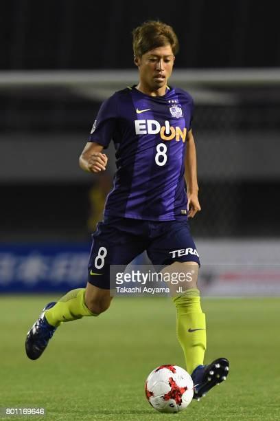 Kazuyuki Morisaki of Sanfrecce Hiroshima in action during the JLeague J1 match between Sanfrecce Hiroshima and Omiya Ardija at Edion Stadium on June...