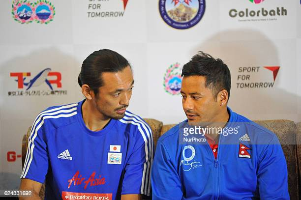 Kazuyuki Toda Coach and Former Japan National Football Player and Anil Gurung Captain sharing memories during Press meet of Exhibition match...