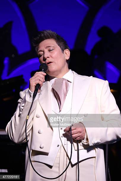 kd lang as she performs a special rare 'After Midnight' encore performance of her legendary rendition of the Leonard Cohen classic 'Hallelujah' to...
