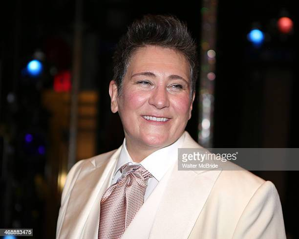 kd lang attends the on stage reception after making her Broadway debut as the ÒSpecial Guest StarÓ in the smash hit new musical 'After Midnight' on...