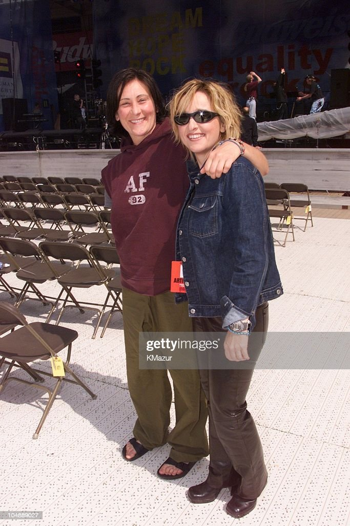 k.d. Lang & <a gi-track='captionPersonalityLinkClicked' href=/galleries/search?phrase=Melissa+Etheridge&family=editorial&specificpeople=206313 ng-click='$event.stopPropagation()'>Melissa Etheridge</a> at rehearsals during Equality Rocks Concert at RFK Stadium - April 29, 2000 at RFK Stadium in Washington, D.C., United States.