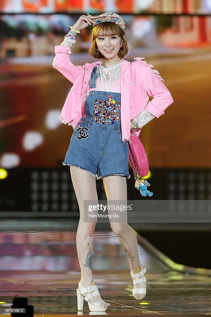 Ke Eun of South Korean girl group Dal Shabet showcases during day two of the K-Pop Collection at Olympic Gymnasium on April 21, 2013 in Seoul, South Korea.
