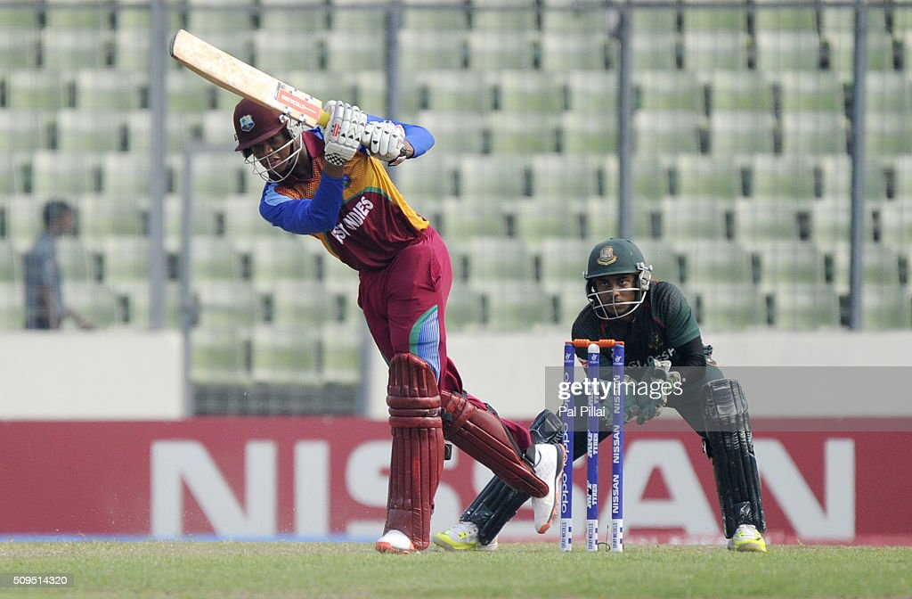 Keacy Carty of West Indies U19 bats during the ICC U 19 World Cup Semi-Final match between Bangladesh and West Indies on February 11, 2016 in Dhaka, Bangladesh.