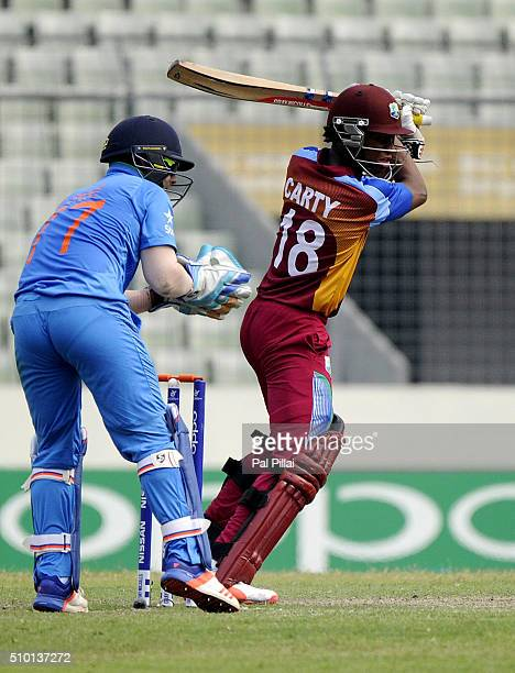 Keacy Carty of West Indies U19 bats during the ICC U19 World Cup Final Match between India and West Indies on February 14 2016 in Dhaka Bangladesh