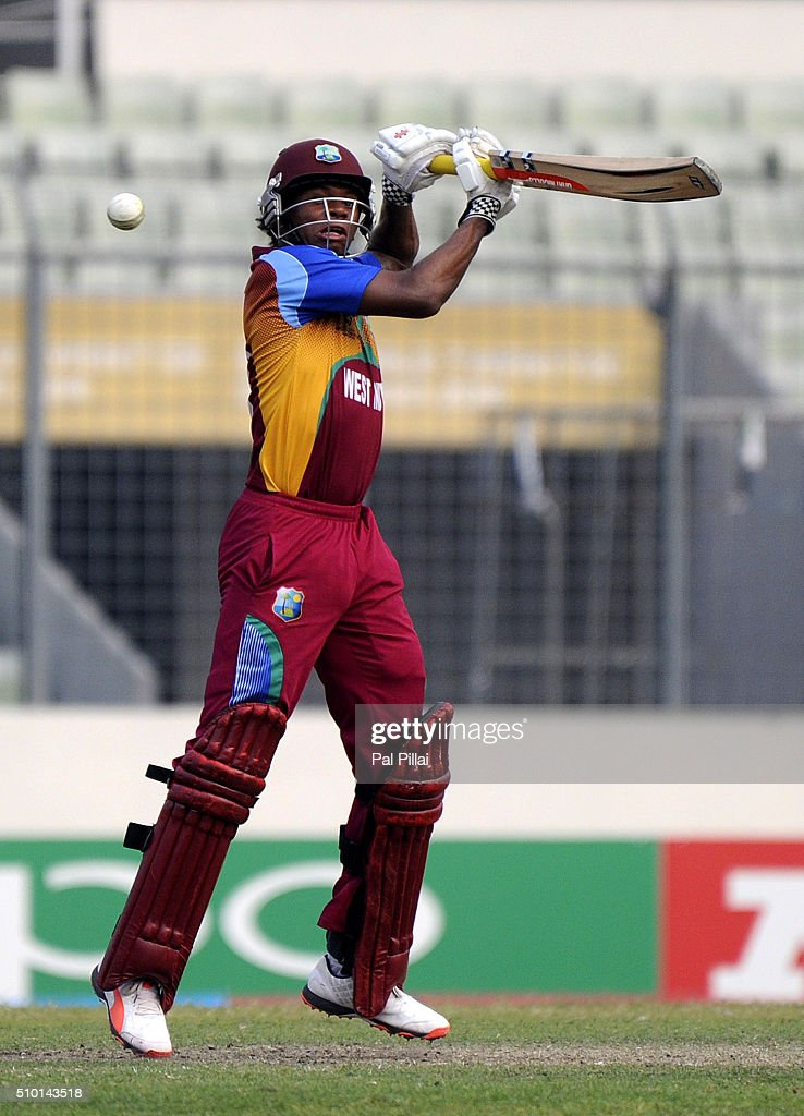 Keacy Carty of West Indies U19 bats during the ICC U19 World Cup Final Match between India and West Indies on February 14, 2016 in Dhaka, Bangladesh.