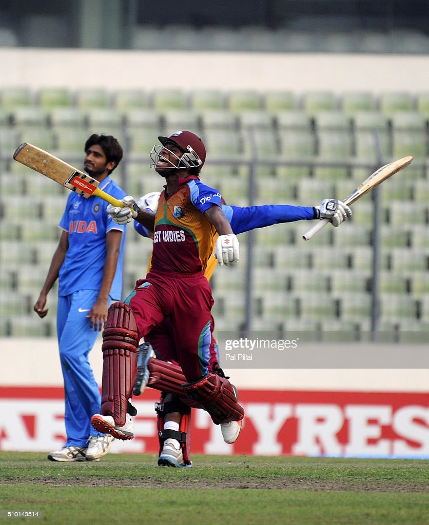Keacy Carty of West Indies U19 celebrates as he takes the winning run during the ICC U19 World Cup Final Match between India and West Indies on February 14, 2016 in Dhaka, Bangladesh.