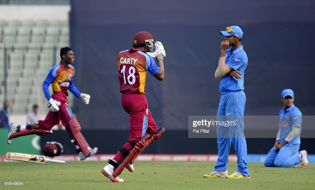Keacy Carty of West Indies U19 runs to celebrate as West Indies wins the ICC U19 World Cup Final Match between India and West Indies on February 14, 2016 in Dhaka, Bangladesh.