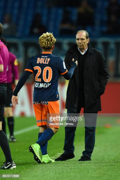 Keagan Dolly and Jean Louis Gasset Coach of Montpellier during the Ligue 1 match between Montpellier Herault and Fc Nantes at Stade de la Mosson on...