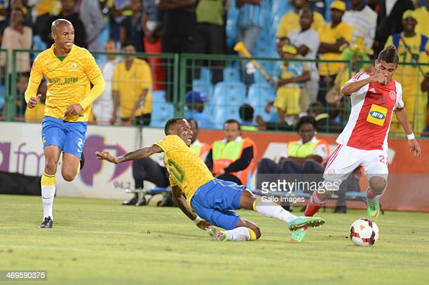 Keagan Dolly of Ajax Cape Town and Teko Modise of Mamelodi Sundowns during the Absa Premiership match between Mamelodi Sundowns and Ajax Cape Town at...