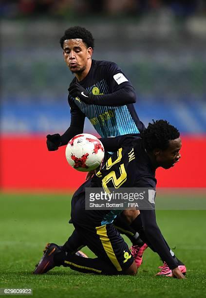 Keagan Dolly of Mamelodi Sundowns and Percy Tau of Mamelodi Sundowns in action during the FIFA Club World Cup 5th Place match between Jeonbuk Hyundai...