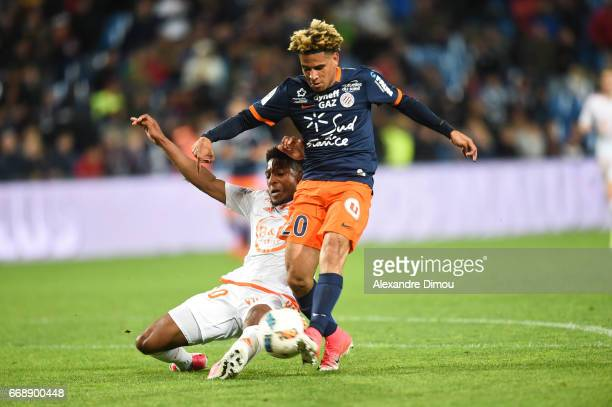 Keagan Dolly of Montpellier and Steven Moreira of Lorient during the Ligue 1 match between Montpellier Herault SC and Fc Lorient at Stade de la...