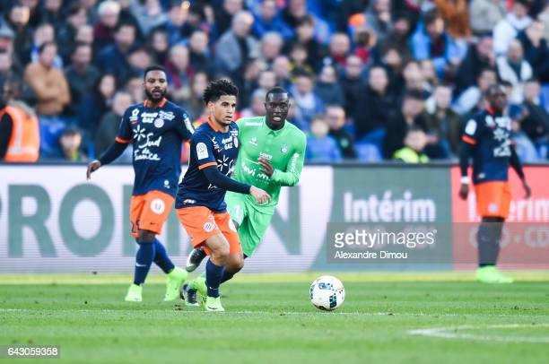 Keagan Dolly of Montpellier during the French Ligue 1 match between Montpellier and Saint Etienne at Stade de la Mosson on February 19 2017 in...