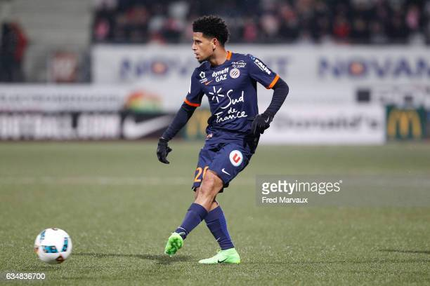 Keagan Dolly of Montpellier during the Ligue 1 match between As Nancy Lorraine and Montpellier Herault at Stade Marcel Picot on February 11 2017 in...
