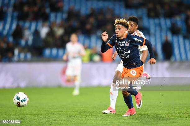 Keagan Dolly of Montpellier during the Ligue 1 match between Montpellier Herault SC and Fc Lorient at Stade de la Mosson on April 15 2017 in...