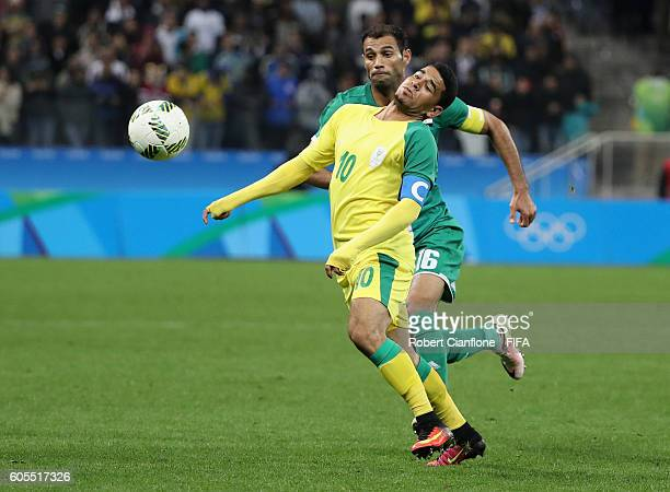 Keagan Dolly of South Africa looks to control the ball during the Men's First Round Group A match between South Africa and Iraq on Day 5 of the Rio...