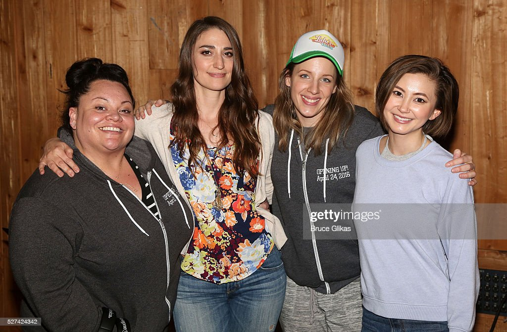 Keala Settle Sara Bareilles Jessie Mueller and Kimiko Glenn pose at the 'Waitress' Original Broadway Cast Album Recording at MSR Studios in Times...