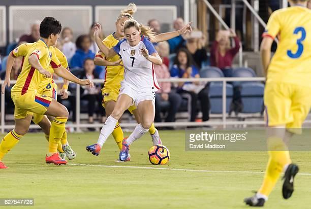 Kealia Ohai of the USA plays in a soccer game against Romania on November 10 2016 at Avaya Stadium in San Jose California