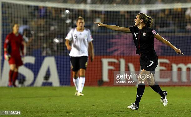 Kealia Ohai of USA celebrates after she scores her team's opening goal during the FIFA U20 Women's World Cup Japan 2012 Final match between USA and...