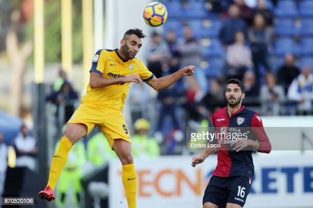 Kean Moise of Verona of action during the Serie A match between Cagliari Calcio and Hellas Verona FC at Stadio Sant'Elia on November 5 2017 in...