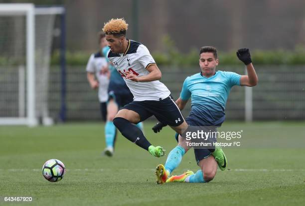 Keanan Bennetts of Spurs jumps a tackle from Marco Dulca of Swansea during the U18 Premier League match between Tottenham Hotspur and Swansea City at...