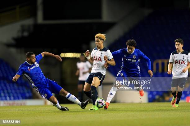 Keanan Bennetts of Tottenham Hotspur and Joshua Grant of Chelsea compete for the ball during the FA Youth Cup Semi Final First Leg match between...