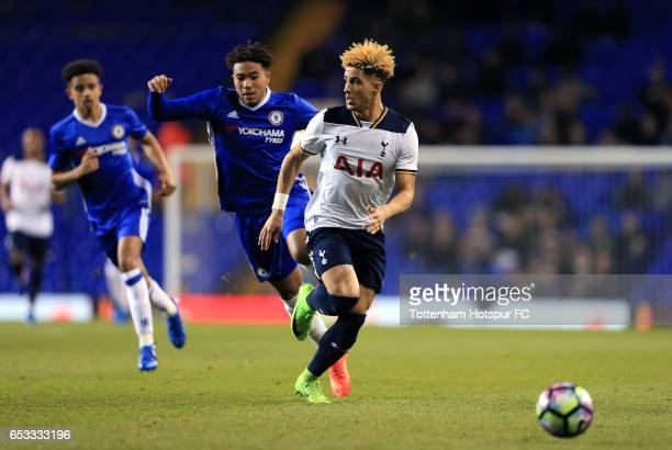 Keanan Bennetts of Tottenham Hotspur and Reece James of Chelsea compete for the ball during the FA Youth Cup Semi Final First Leg match between...