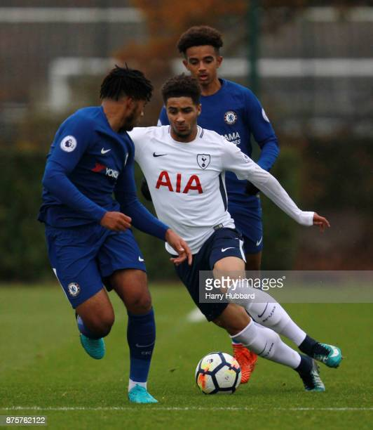 Keanan Bennetts of Tottenham Hotspur and Reece James of Chelsea in action during a Premier League 2 match between Tottenham Hotspur and Chelsea at...