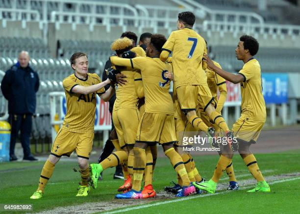 Keanan Bennetts of Tottenham Hotspur celebrates scoring a goal with his team mates early in the first half during the FA Youth Cup Sixth Round match...
