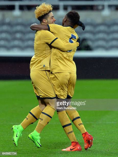 Keanan Bennetts of Tottenham Hotspur celebrates scoring a goal with Jonathan Dinzeyi early in the first half during the FA Youth Cup Sixth Round...