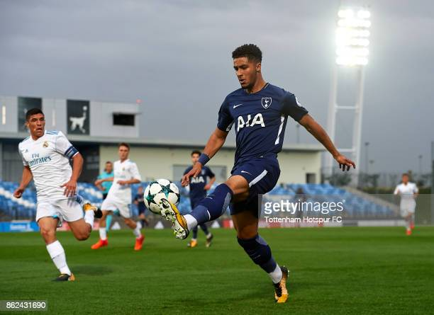 Keanan Bennetts of Tottenham Hotspur controls the ball during the UEFA Youth Champions League group H match between Real Madrid and Tottenham Hotspur...
