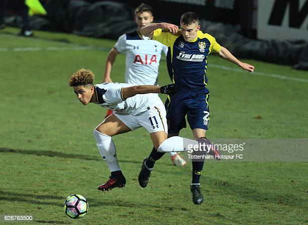 Keanan Bennetts of Tottenham Hotspur holds off the challenge of Macsen Fraser of Stevenage during the FA Youth Cup Third Round between Tottenham...