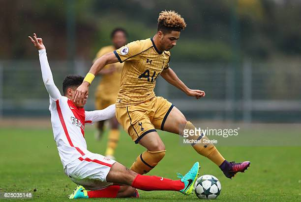 Keanan Bennetts of Tottenham Hotspur is tackled by Jalil Enjolras of AS Monaco during the UEFA Youth Champions League match between AS Monaco FC and...