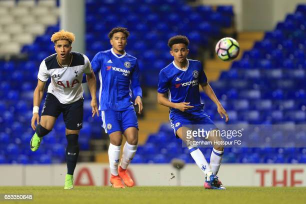 Keanan Bennetts of Tottenham Hotspur sees a shot blocked during the FA Youth Cup Semi Final First Leg match between Tottenham Hotspur and Chelsea at...