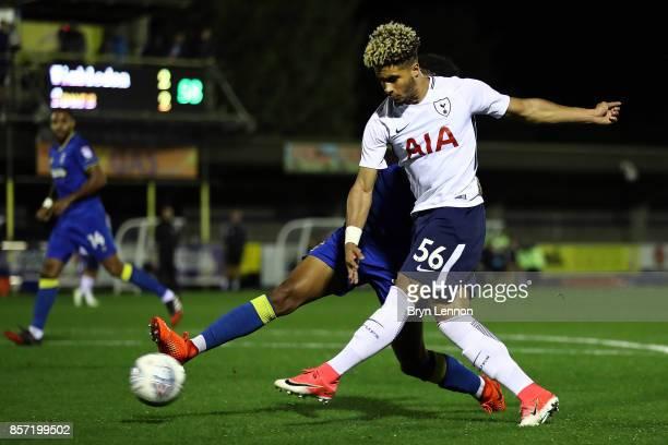 Keanan Bennetts of Tottenham Hotspurs scores their 3rd goal during the Checkatrade Trophy match between AFC Wimbledon and Tottenham Hotspur U21 at...