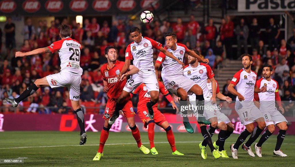 Keanu Baccus of the Wanderers headers the ball during the round 27 A-League match between Adelaide United and the Western Sydney Wanderers at Coopers Stadium on April 15, 2017 in Adelaide, Australia.