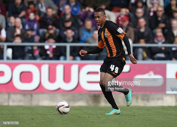 Keanu MarshBrown of Barnet in action during the npower league Two match between Northampton Town and Barnet at Sixfields Stadium on April 27 2013 in...