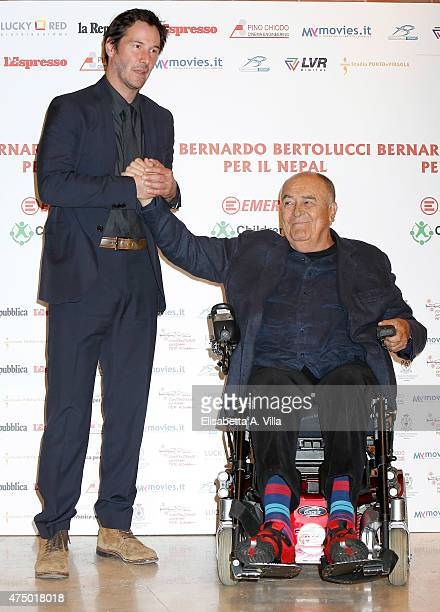 Keanu Reeves and Bernardo Bertolucci attend 'Piccolo Buddha' Charity Screening at Auditorium Parco Della Musica on May 28 2015 in Rome Italy With the...
