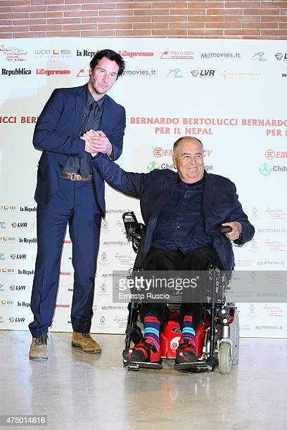 Keanu Reeves and director Bernardo Bertolucci attend the 'Bernardo Bertolucci Per Il Nepal' Charity Event at Auditorium Parco Della Musica on May 28...