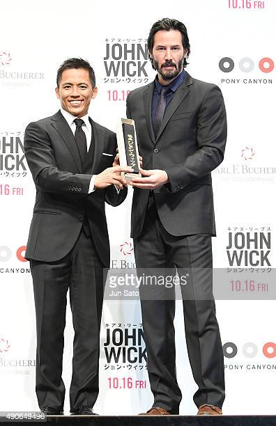 Keanu Reeves and judo competitor Tadahiro Nomura attend the 'John Wick' Japan Premiere at Differ Ariake Arena on September 30 2015 in Tokyo Japan