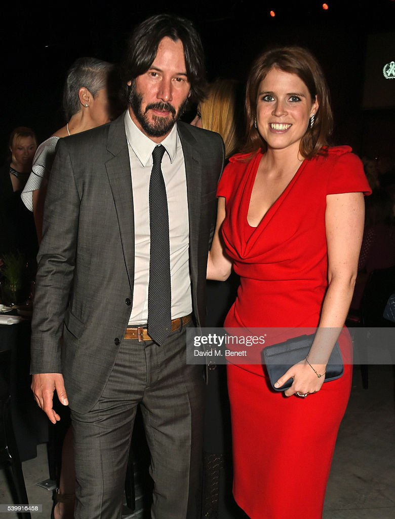 Keanu Reeves (L) and Princess Eugenie of York attend the UNAIDS Gala during Art Basel 2016 at Design Miami/ Basel on June 13, 2016 in Basel, Switzerland.