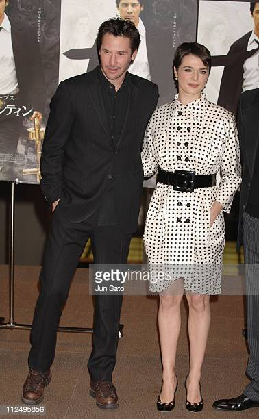 Keanu Reeves and Rachel Weisz during 'Constantine' Tokyo Premiere Arrivals at Tokyo International Forum in Tokyo Japan