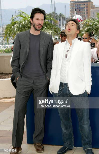 Keanu Reeves and Robert Downey Jr during 2006 Cannes Film Festival 'A Scanner Darkly' Photocall at Palais des Festival Terrace in Cannes France